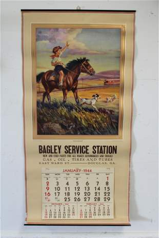 Lot of 1944 Bagley Service Station Calendar and Other
