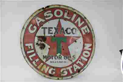 "Circa 1910's-1920's 42"" SSP Texaco Gasoline Filling"