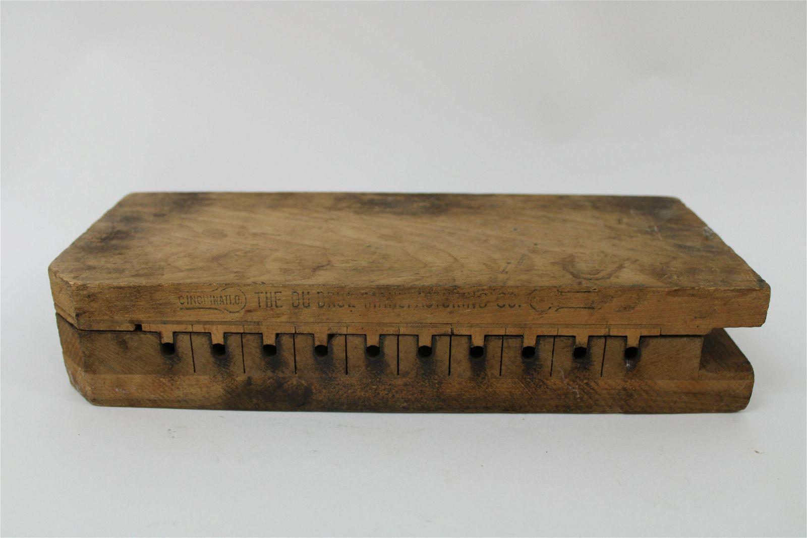 """Antique Wooden Durex Cigar Mold 13"""" x 5.5""""."""