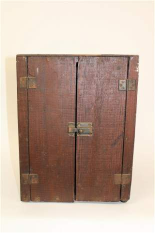 Primitive Folk Art Medicine Cabinet Constructed of