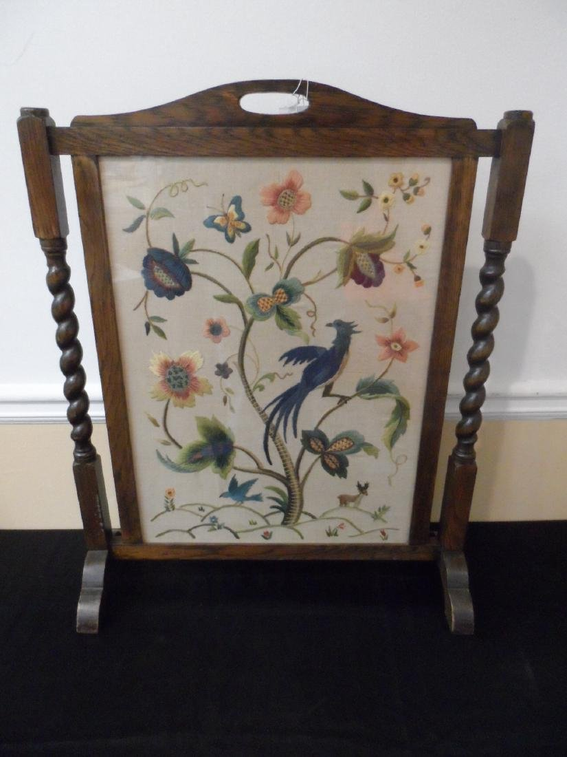 English Barley Twist and Needlepoint Fire Screen