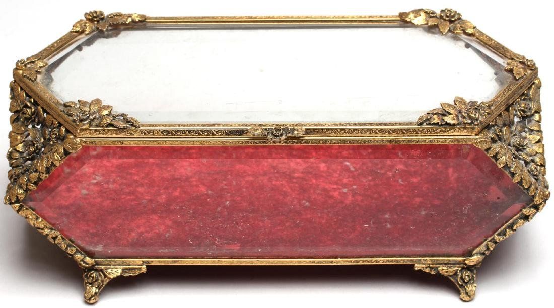Louis XVI-Style Gilt-Metal & Glass Jewelry Box