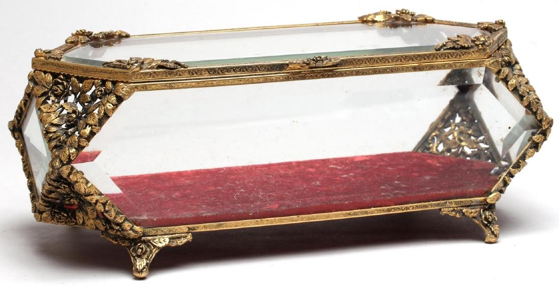 Louis XVI-Style Gilt-Metal & Glass Jewelry Box - 2