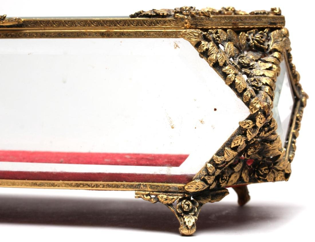 Louis XVI-Style Gilt-Metal & Glass Jewelry Box - 4