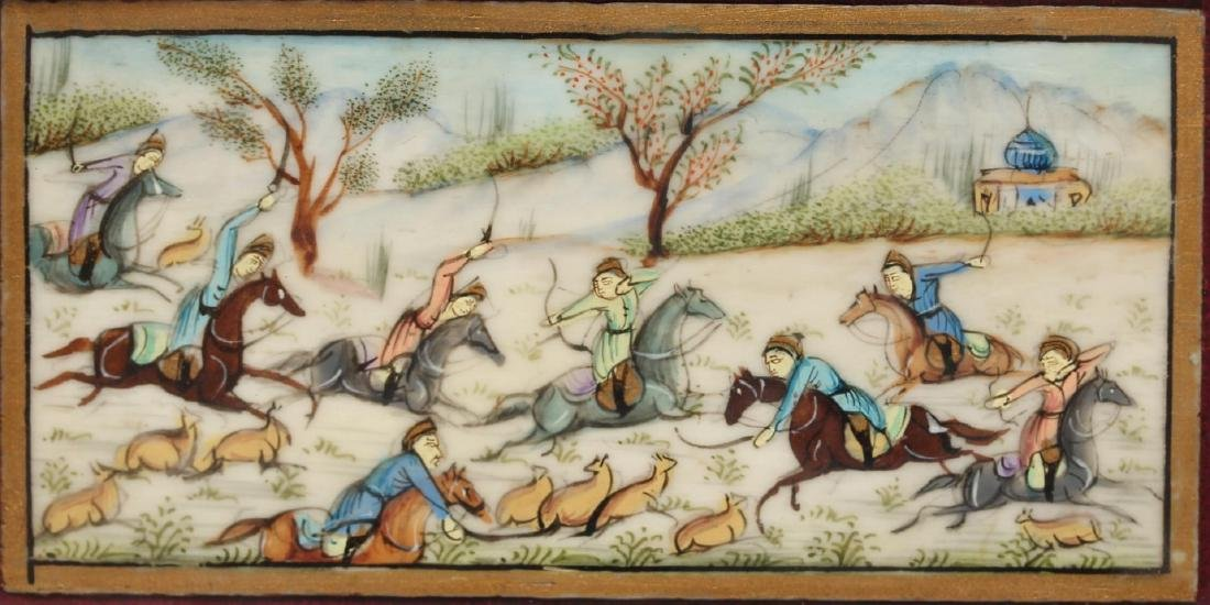Persian Mughal-Style Hunting Scene on Ceramic