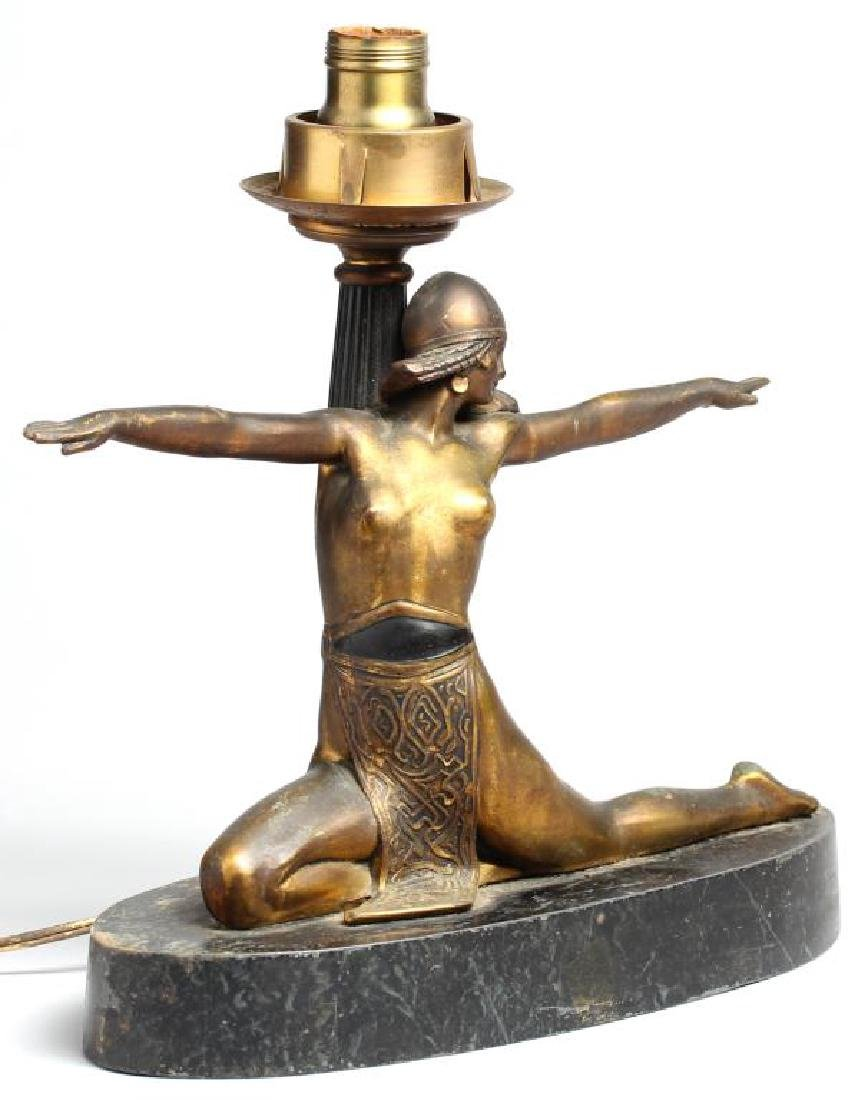 Art Deco Style Lamp with Cast Metal Belly Dancer - 2