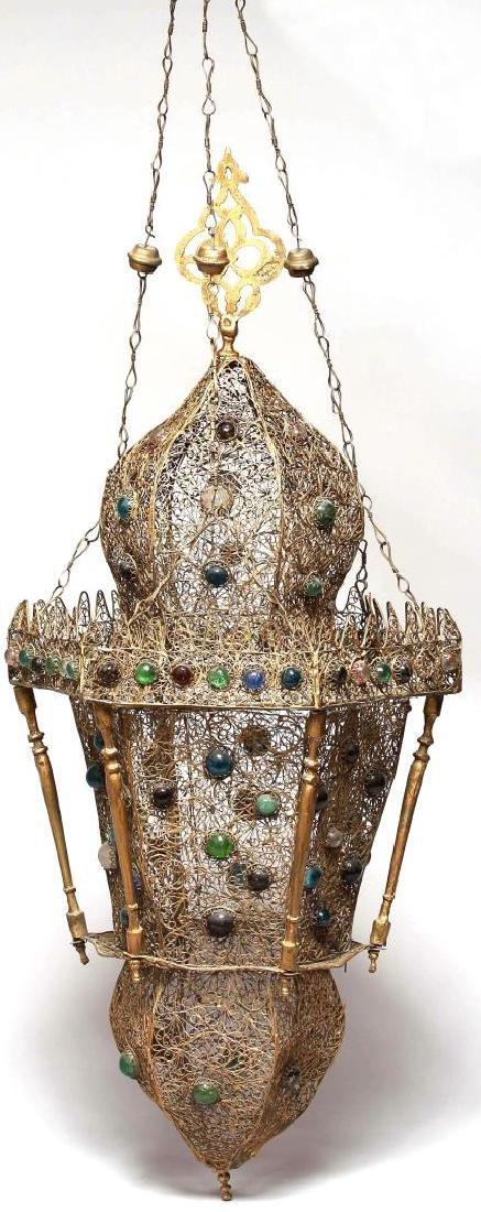 Intricate Moorish Gilt Metal Filigree Hanging Lamp