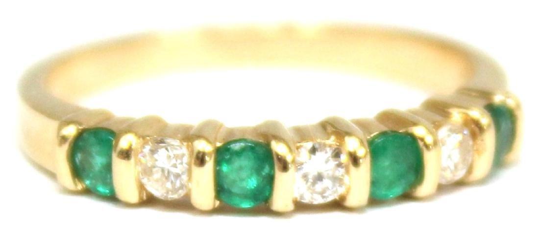 14K Gold, Emerald, & Diamond Ring
