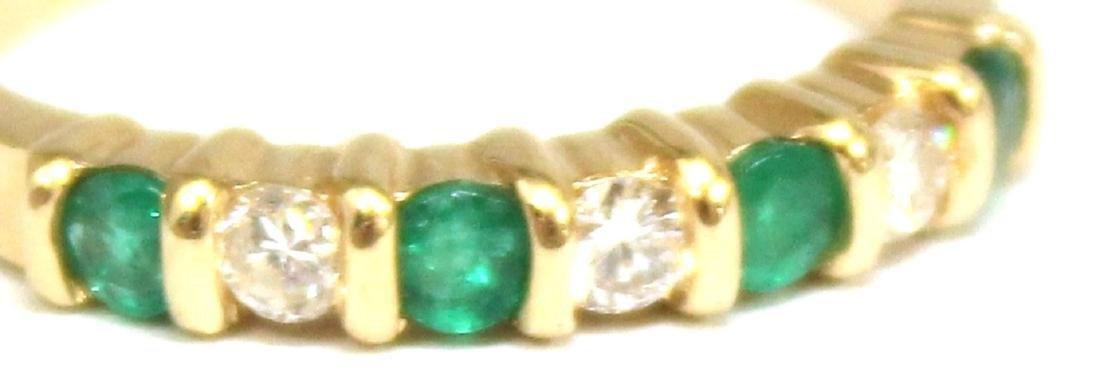 14K Gold, Emerald, & Diamond Ring - 2