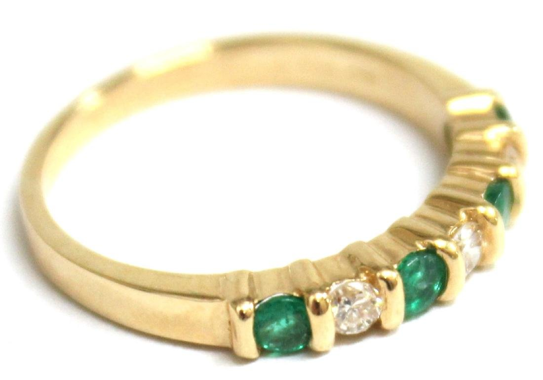 14K Gold, Emerald, & Diamond Ring - 3