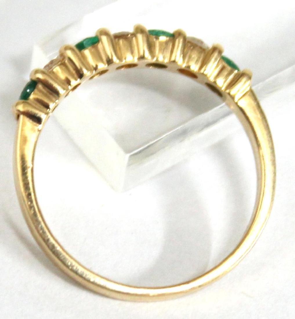 14K Gold, Emerald, & Diamond Ring - 4