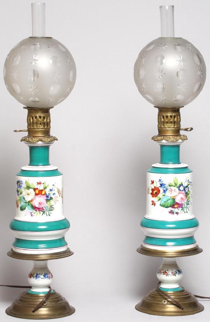 Pair of Old Paris Porcelain Electrified Gas Lamps