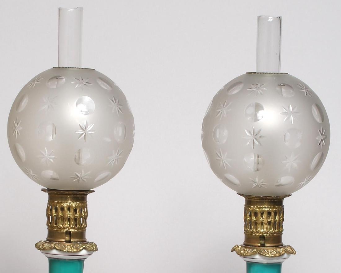 Pair of Old Paris Porcelain Electrified Gas Lamps - 5