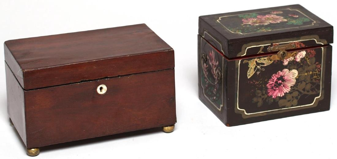 2 Antique English Tea Caddies