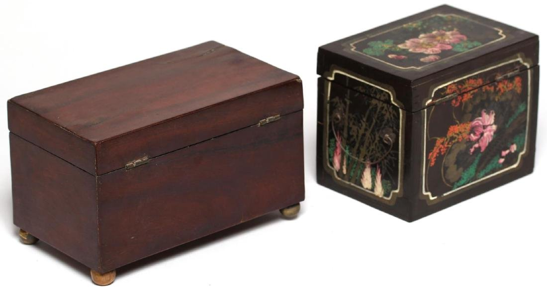 2 Antique English Tea Caddies - 2
