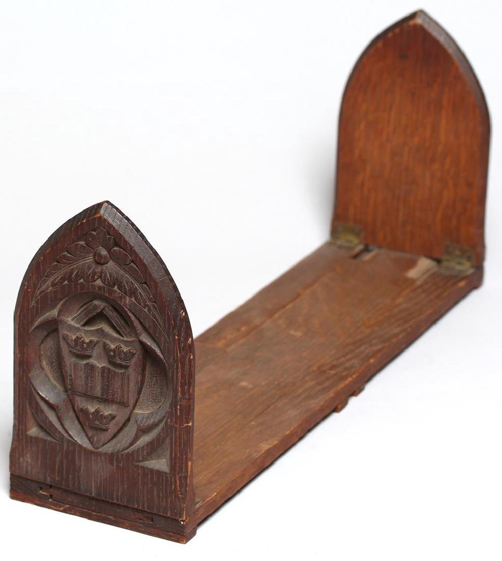 Hand-Carved Oak Gothic Revival Expanding Bookends