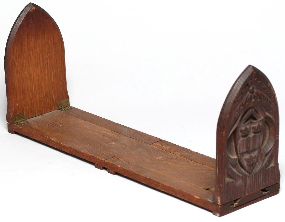 Hand-Carved Oak Gothic Revival Expanding Bookends - 2