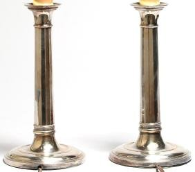 Pair of Vintage Silver-Plate Candlestick Lamps