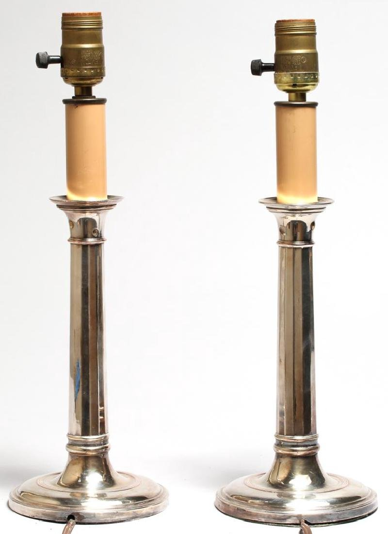 Pair of Vintage Silver-Plate Candlestick Lamps - 2