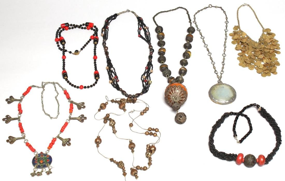 8 Assorted Ethnic, Tribal & Costume Necklaces