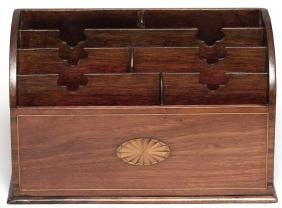 19th C. Walnut & Marquetry-Inlaid Letter Rack