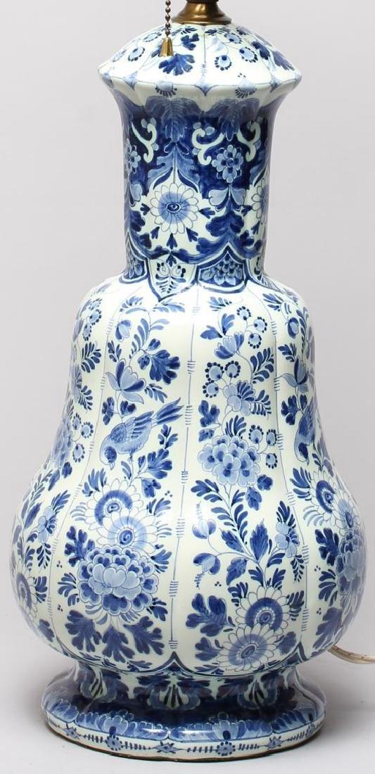 Continental Blue & White Lobed Porcelain Lamp