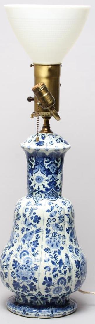 Continental Blue & White Lobed Porcelain Lamp - 2