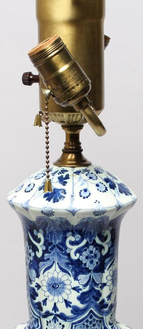 Continental Blue & White Lobed Porcelain Lamp - 4