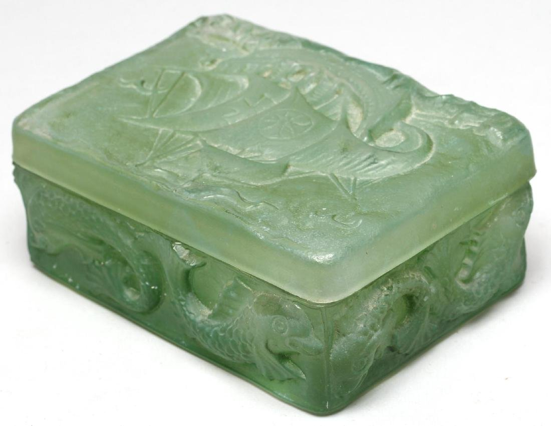 Molded Green Glass Trinket Box
