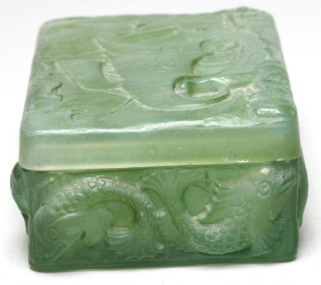 Molded Green Glass Trinket Box - 2