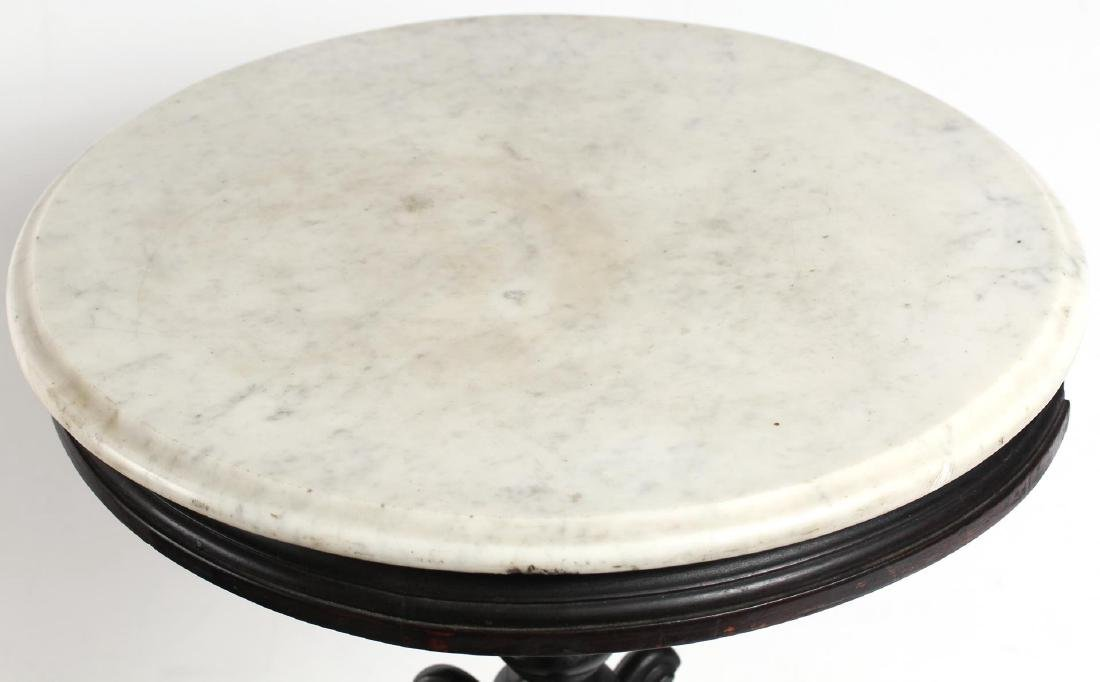 Victorian Circular Marble & Wood Table Stand - 4