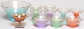 13-Piece Vintage Multi-Color Glass Dessert Service