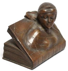 """Jennings Brothers Bronzed """"Beatrice"""" Paperweight"""