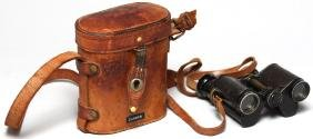 Antique WWI Field Glasses in Leather Case