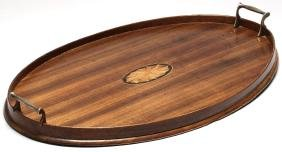 Walnut & Marquetry Serving Tray with Brass Handles