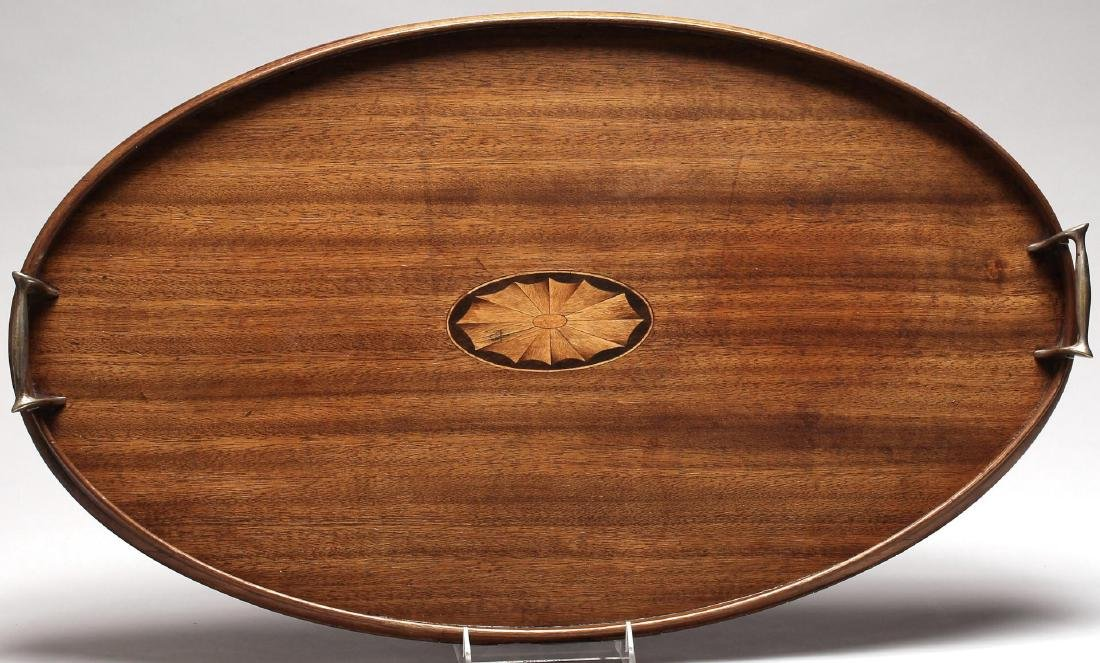 Walnut & Marquetry Serving Tray with Brass Handles - 2