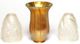 3 Antique Art Glass Lampshades including Quezal