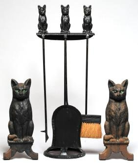 Black Cat Fireplace Tools & Andirons Set, ca. 1920