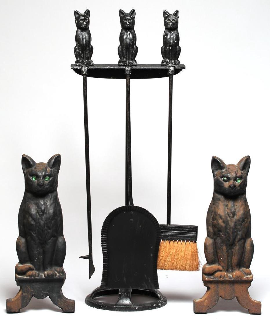 Black Cat Fireplace Tools & Andirons Set, ca. 1920