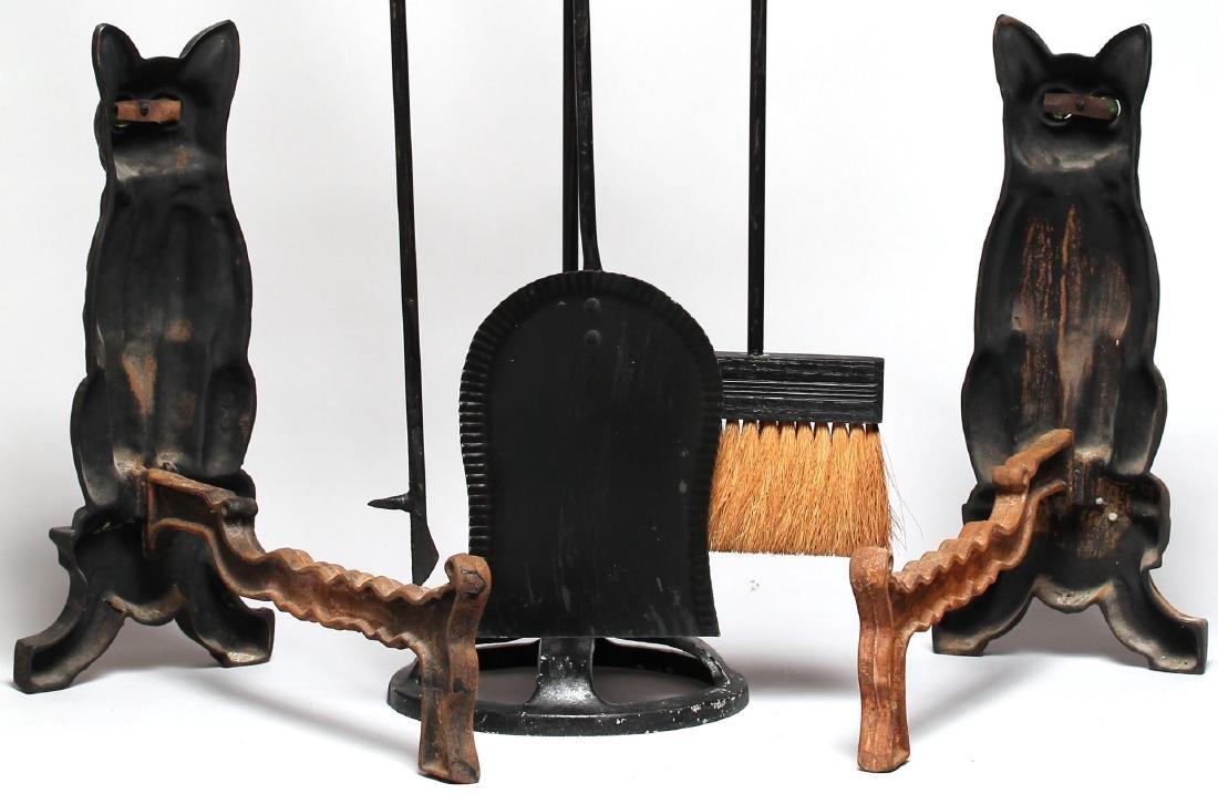 Black Cat Fireplace Tools & Andirons Set, ca. 1920 - 5