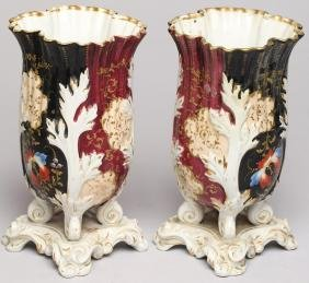 Pair of Hand-Painted & Gilded Porcelain Vases