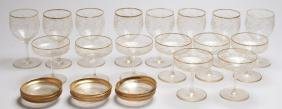 Group of Vintage Etched & Gilt Crystal Glasses