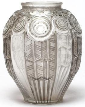 A. Hunebelle Art Deco Glass Vase