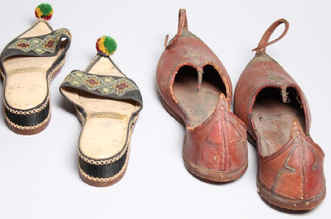 "4 Pairs of Vintage Turkish ""Aladdin Slipper"" Shoes - 6"