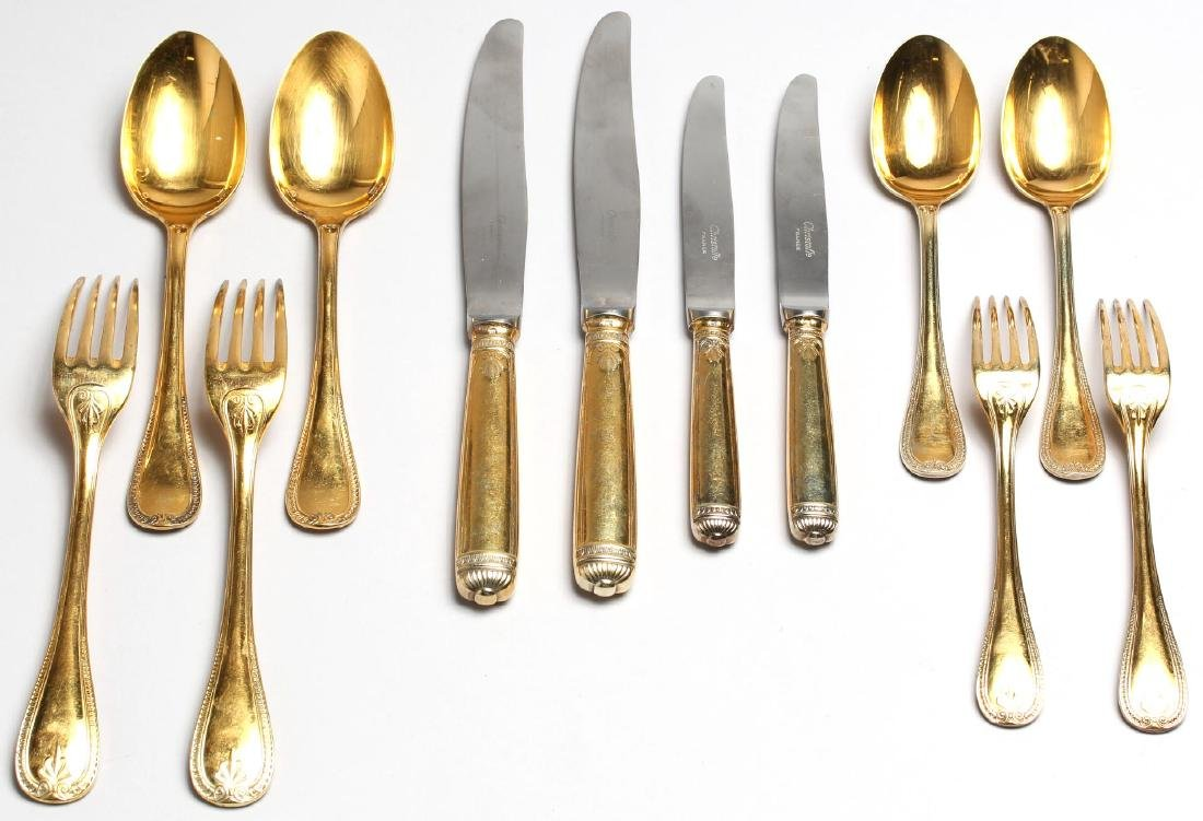 2 Christofle Gold-Plated Flatware Place Settings