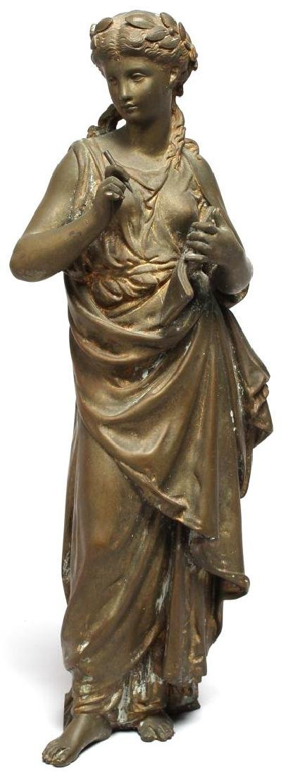 Gilt Brass Figure of Clio, Greek Muse of History