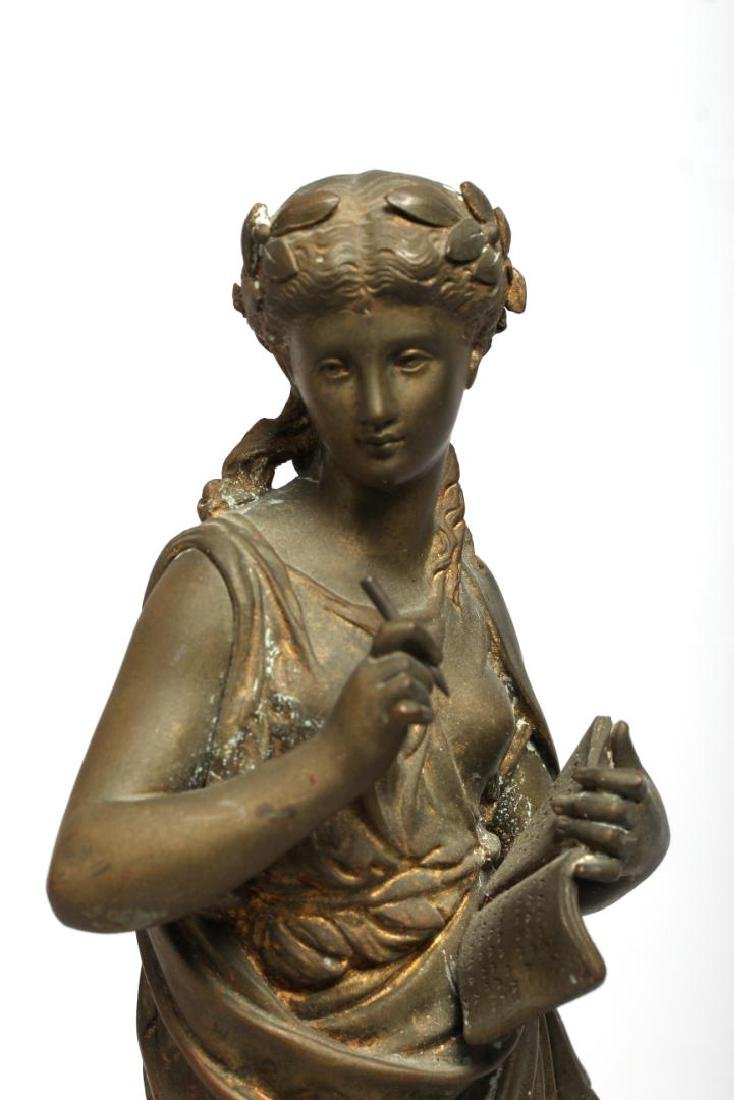 Gilt Brass Figure of Clio, Greek Muse of History - 2