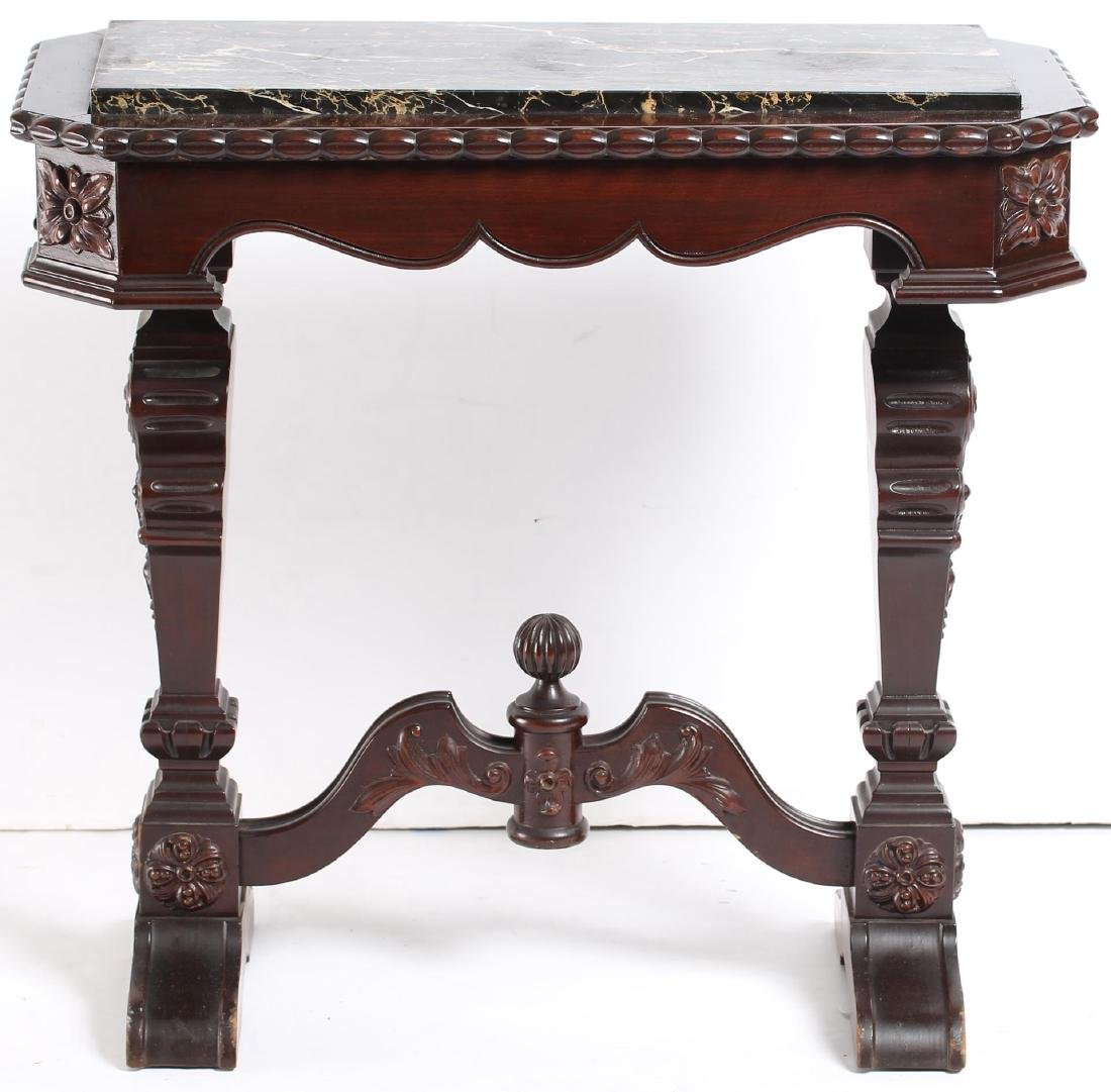 Small Victorian Carved Marble-Top Console Table