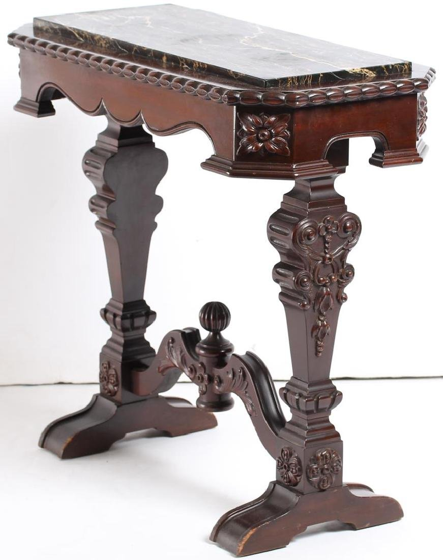 Small Victorian Carved Marble-Top Console Table - 2