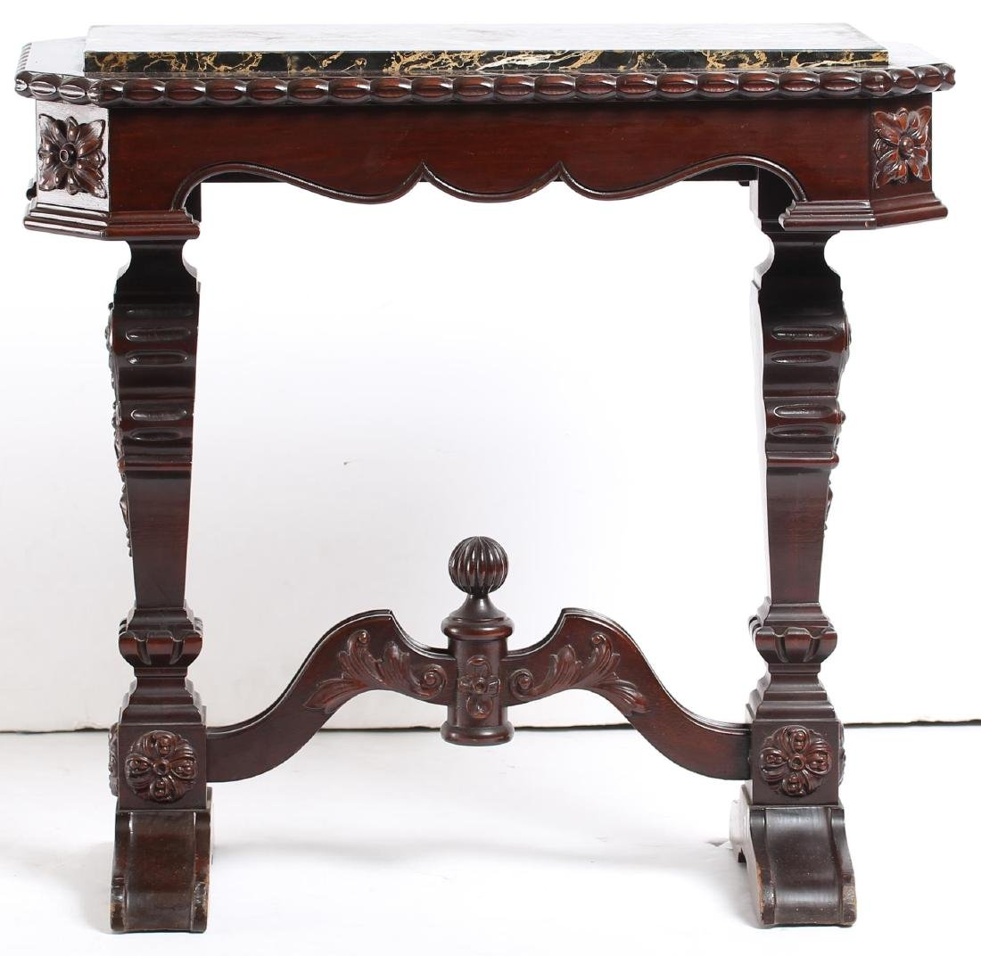 Small Victorian Carved Marble-Top Console Table - 3